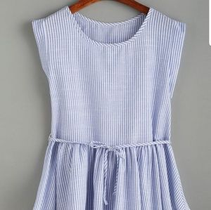 Tops - Light Blue & White Striped  Belted Peplum Top